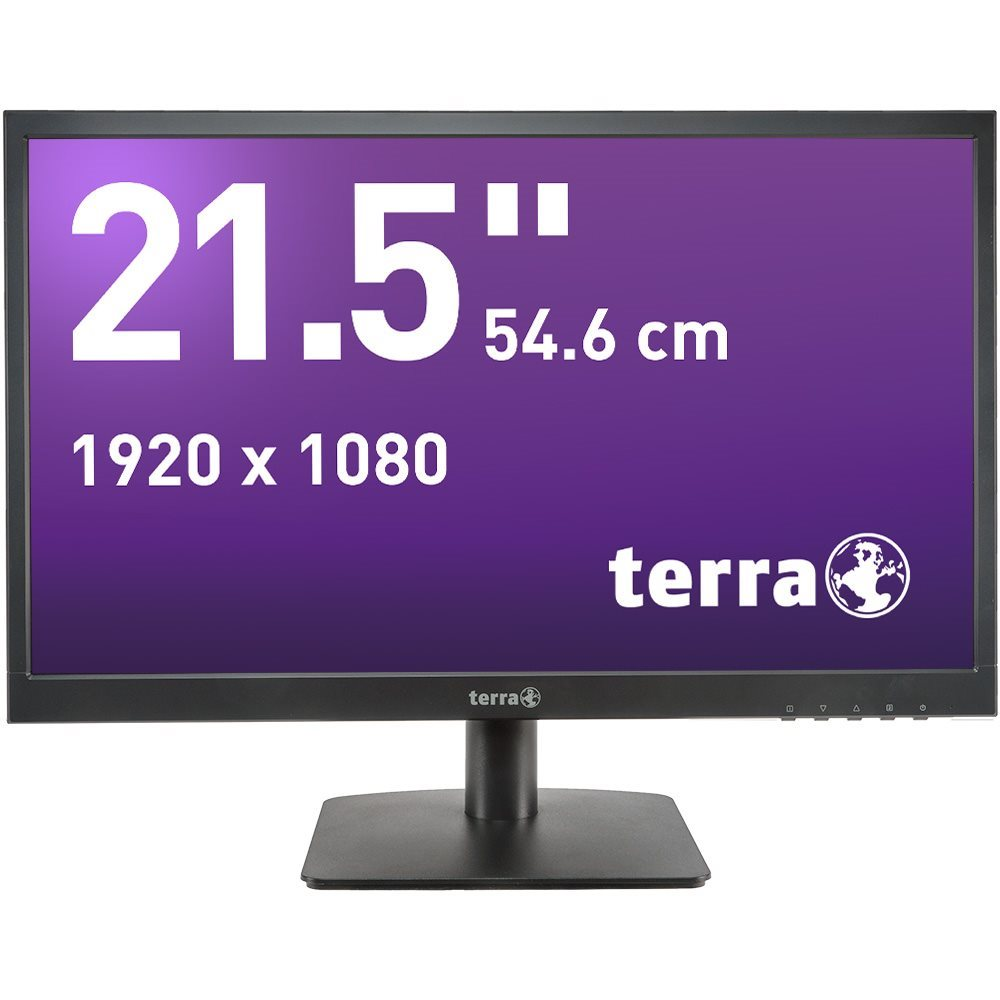 "TERRA LED 2226W black HDMI GREENLINE PLUS  21,5"" Full-HD TFT-Display mit MVA Paneltechnologie VGA+HDMI, 1920x1080, LED-Backlight, Lautsprecher 250 cd/m?, 5.000.000:1, 5 ms (OD), H178?/ V178? HDMI-Kabel inklusive"