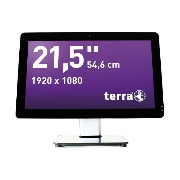 "TERRA Greenline Serie ;  AIO-PC; 21.5"" (55 cm); Core i3-4170 (3.70 GHz) ;  10-point Multi-Touch Display ;  4 GB DDR3 SO-DIMM; 1 TB HDD ;  Intel HD 4400 Grafik integiert; ;  DVD?RW brenner; Webcam; Cardreader ;  GbE-LAN; WLAN 802.11 b/g/n; Bluetooth ;  Windows 7 Professional 64-Bit ;  (Downgrade von Windows 8.1 Pro) ;  Microsoft Office trial ;  (!) Ohne Tastatur & Mouse"
