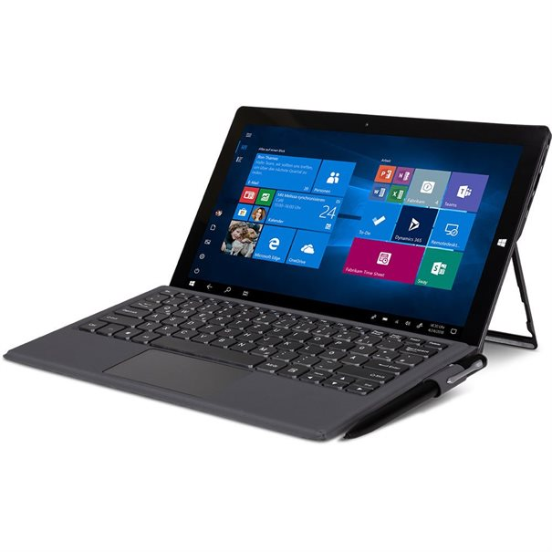 "Intel? Celeron- N3350 CPU; ;  11.6"" Touch Panel (1920x1080) Glare; ;  Intel? HD Graphics 500; ;  64 GB eMMC; 4 GB DDR3-RAM; ;  Wifi 802.11ac & Bluetooth 4.2 ;  1x USB Type C; 2 x USB 3.0; Micro-HDMI; ;  Micro-SD Cardreader; Headset ;  Frontcamera 2MP / 5MP Hauptkamera ;  Microphone; Speaker; ;  Gewicht: 800g; Abmessungen: 290 x 179 x 9 mm ;  Windows 10 Pro; Keyboard optional"