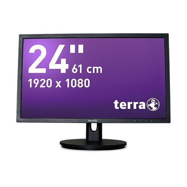 "24"" Wide TFT-Display, 1920x1080, LED-backlight  Höhenverstellung, VGA/ HDMI/ DisplayPort, Lautspr.  250 cd/m², 20.000.000:1, 2 ms (OD), H 170°/ V 160°  Inklusive HDMI-Kabel"